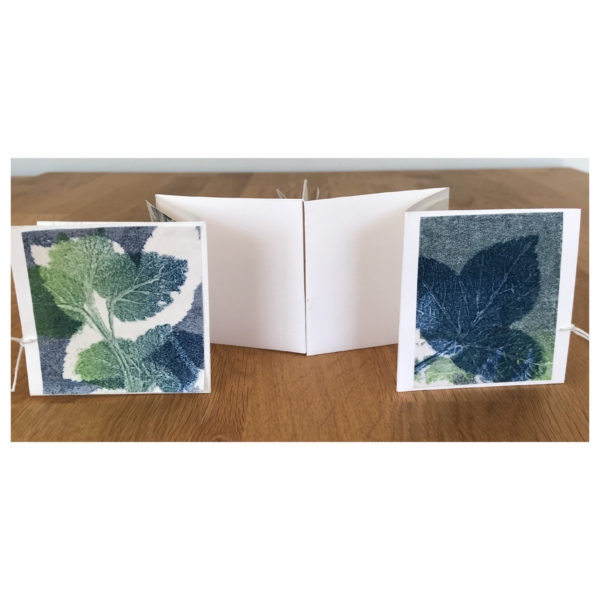 Folded book front and back