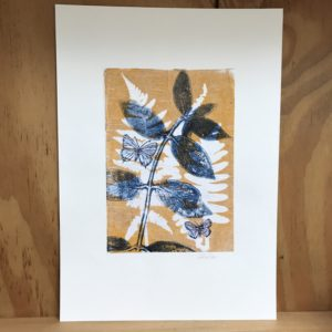 indiog butterfly leaves monoprint